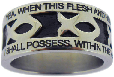 """SILVER STAINLESS STEEL """"AMAZING GRACE"""" ICHTHUS RING 603.  """"YEA, WHEN THIS FLESH AND HEART SHALL FAIL, AND MORTAL LIFE SHALL CEASE,"""" """"I SHALL POSSESS, WITHIN THE VEIL, A LIFE OF JOY AND PEACE."""""""