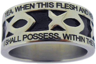 "SILVER STAINLESS STEEL ""AMAZING GRACE"" ICHTHUS RING 603.  ""YEA, WHEN THIS FLESH AND HEART SHALL FAIL, AND MORTAL LIFE SHALL CEASE,"" ""I SHALL POSSESS, WITHIN THE VEIL, A LIFE OF JOY AND PEACE."""