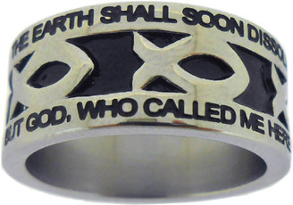 "SILVER STAINLESS STEEL ""AMAZING GRACE"" ICHTHUS RING 605.  ""THE EARTH SHALL SOON DISSOLVE LIKE SNOW, THE SUN FORBEAR TO SHINE;"" ""BUT GOD, WHO CALLED ME HERE BELOW, WILL BE FOREVER MINE."""