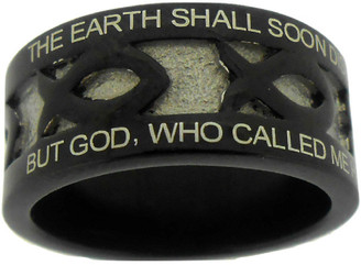 "BLACK STAINLESS STEEL ""AMAZING GRACE"" ICHTHUS RING 606.  ""THE EARTH SHALL SOON DISSOLVE LIKE SNOW, THE SUN FORBEAR TO SHINE;"" ""BUT GOD, WHO CALLED ME HERE BELOW, WILL BE FOREVER MINE."""