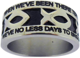 "SILVER STAINLESS STEEL ""AMAZING GRACE"" ICHTHUS RING 607.  ""WHEN WE'VE BEEN THERE TEN THOUSAND YEARS, BRIGHT SHINING AS THE SUN,""  ""WE'VE NO LESS DAYS TO SING GOD'S PRAISE, THAN WHEN WE'D FIRST BEGUN."""