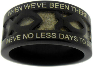"BLACK STAINLESS STEEL ""AMAZING GRACE"" ICHTHUS RING 608.  ""WHEN WE'VE BEEN THERE TEN THOUSAND YEARS, BRIGHT SHINING AS THE SUN,""  ""WE'VE NO LESS DAYS TO SING GOD'S PRAISE, THAN WHEN WE'D FIRST BEGUN."""