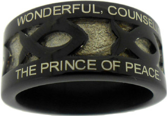 """BLACK STAINLESS STEEL """"HANDEL'S MESSIAH"""" ICHTHUS RING 610.  """"WONDERFUL, COUNSELLOR, THE MIGHTY GOD, THE EVERLASTING FATHER,""""  """"THE PRINCE OF PEACE. KING OF KINGS AND LORD OF LORDS!"""""""
