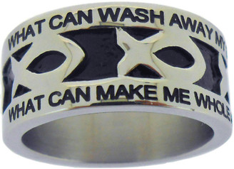 """SILVER STAINLESS STEEL """"NOTHING BUT THE BLOOD"""" ICHTHUS RING 611.  """"WHAT CAN WASH AWAY MY SIN? NOTHING BUT THE BLOOD OF JESUS."""" """"WHAT CAN MAKE ME WHOLE AGAIN? NOTHING BUT THE BLOOD OF JESUS."""""""