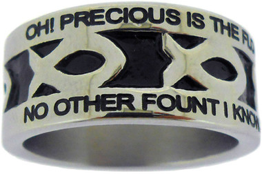 "SILVER STAINLESS STEEL ""NOTHING BUT THE BLOOD"" ICHTHUS RING 613.  ""OH! PRECIOUS IS THE FLOW, THAT MAKES ME WHITE AS SNOW;"" ""NO OTHER FOUNT I KNOW, NOTHING BUT THE BLOOD OF JESUS."""