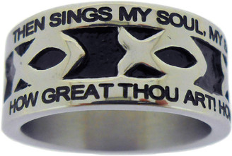 "SILVER STAINLESS STEEL ""HOW GREAT THOU ART"" ICHTHUS RING 615. ""THEN SINGS MY SOUL, MY SAVIOR GOD, TO THEE:"" ""HOW GREAT THOU ART! HOW GREAT THOU ART!"""