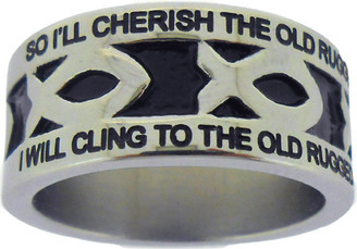 "SILVER STAINLESS STEEL ""THE OLD RUGGED CROSS"" ICHTHUS RING 617. ""SO I'LL CHERISH THE OLD RUGGED CROSS, TILL MY TROPHIES AT LAST I LAY DOWN;"" ""I WILL CLING TO THE OLD RUGGED CROSS, AND EXCHANGE IT SOMEDAY FOR A CROWN."""