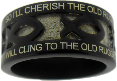 """BLACK STAINLESS STEEL """"THE OLD RUGGED CROSS"""" ICHTHUS RING 618. """"SO I'LL CHERISH THE OLD RUGGED CROSS, TILL MY TROPHIES AT LAST I LAY DOWN;"""" """"I WILL CLING TO THE OLD RUGGED CROSS, AND EXCHANGE IT SOMEDAY FOR A CROWN."""""""