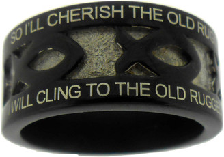 "BLACK STAINLESS STEEL ""THE OLD RUGGED CROSS"" ICHTHUS RING 618. ""SO I'LL CHERISH THE OLD RUGGED CROSS, TILL MY TROPHIES AT LAST I LAY DOWN;"" ""I WILL CLING TO THE OLD RUGGED CROSS, AND EXCHANGE IT SOMEDAY FOR A CROWN."""