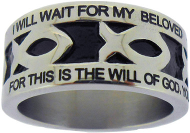 "SILVER STAINLESS STEEL 1 THES 4:3 PURITY ICHTHUS RING 619. ""I WILL WAIT FOR MY BELOVED 1 THESSALONIANS 4:3"" ""FOR THIS IS THE WILL OF GOD, YOUR SANCTIFICATION"""