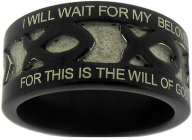 "BLACK STAINLESS STEEL PURITY ICHTHUS RING 620. ""I WILL WAIT FOR MY BELOVED 1 THESSALONIANS 4:3"" ""FOR THIS IS THE WILL OF GOD, YOUR SANCTIFICATION"""