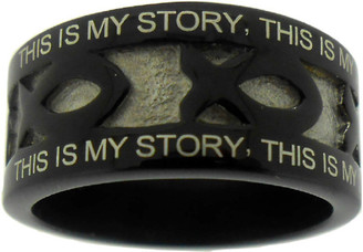 """BLACK STAINLESS STEEL """"BLESSED ASSURANCE"""" ICHTHUS RING 622. """"THIS IS MY STORY, THIS IS MY SONG, PRAISING MY SAVIOR ALL THE DAY LONG;"""" """"THIS IS MY STORY, THIS IS MY SONG, PRAISING MY SAVIOR ALL THE DAY LONG."""""""