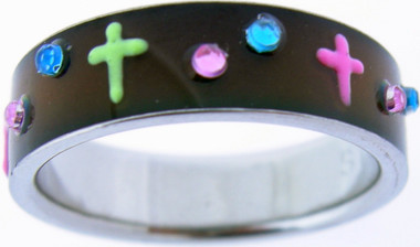 """7mm STAINLESS STEEL """"COLOR YOUR FAITH"""" COLOR CHANGING CROSS RING 511"""