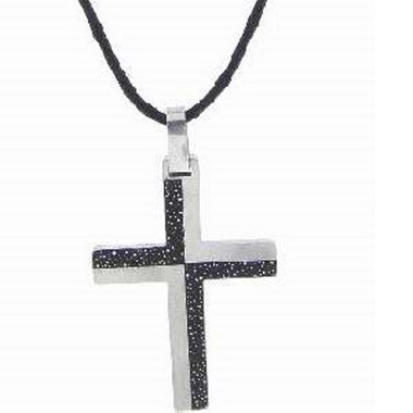 STAINLESS STEEL CHECKERED INLAY CROSS NECKLACE ON ADJUSTABLE BLACK CORD