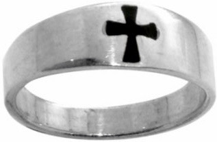 RING STYLE 412 STERLING SILVER ENAMELED MALTA CROSS RING