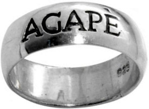RING STYLE 415 STERLING SILVER OXIDIZED AGAPÈ/LOVE RING