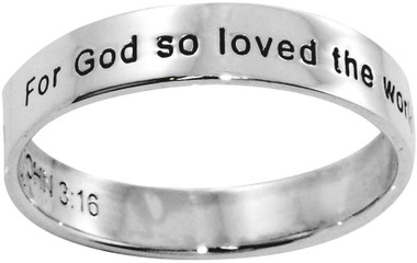 """STERLING SILVER """"JOHN 3:16 God so loved the world, that he gave his only begotten Son"""" RING STYLE 493"""