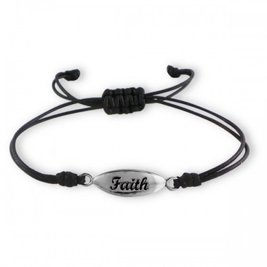 ".925 Sterling Silver ""Faith"" Adjustable Cotton Cord Nylon/Cord Bracelet"