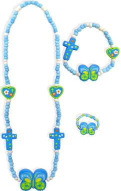 MATCHING ELASTIC BLUE FIMO CROSS/BUTTERFLY BEADED NECKLACE, BRACELET, AND RING