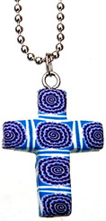 "PURPLE FIMO FLOWERED CROSS NECKLACE ON 18"" CHAIN"