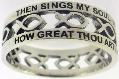"""STERLING SILVER CUTOUT """"HOW GREAT THOU ART"""" JESUS ICHTHUS (FISH) CHRISTIAN RING STYLE 839"""