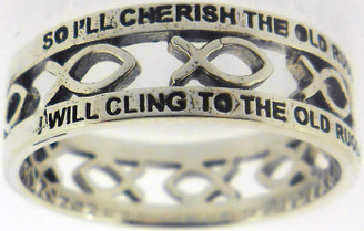 "STERLING SILVER CUTOUT ""THE OLD RUGGED CROSS"" JESUS ICHTHUS (FISH) CHRISTIAN RING STYLE 840."