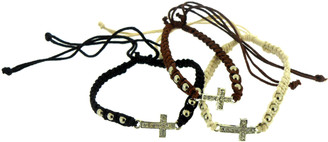 COTTON ADJUSTABLE FRIENDSHIP BRACELET WITH CROSS (OR $13.00/DOZEN)