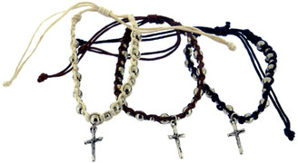 COTTON ADJUSTABLE FRIENDSHIP BRACELET WITH LARGE ROUND SILVER BEADS AND CRUCIFIX CHARM