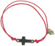 COTTON ADJUSTABLE FRIENDSHIP BRACELET WITH CROSS BEAD AND FOOTPRINTS