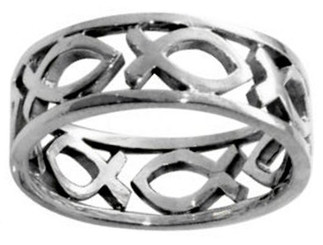 STERLING SILVER CUTOUT JESUS ICHTHUS (FISH) CHRISTIAN PURITY RING 400