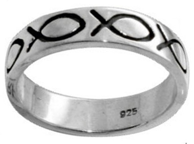 RING STYLE 403 STERLING SILVER OXIDIZED ICHTHUS (FISH) CHRISTIAN RING