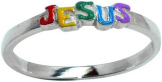 "STERLING SILVER RAINBOW ENAMELED ""JESUS"" RING STYLE 499"