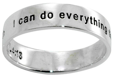 """STERLING SILVER """"PHIL 4:13 I can do everything through him who gives me strength"""" CHRISTIAN RING STYLE 495"""