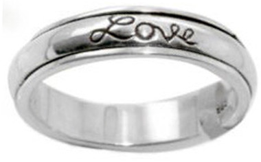 """STERLING SILVER """"Faith, Hope, Love"""" CHRISTIAN BIBLE VERSE SPIN RING STYLE 482"""