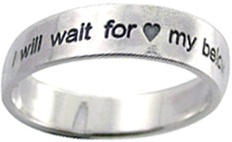 "STERLING SILVER ""I WILL WAIT FOR MY BELOVED"" FLAT BAND CHRISTIAN PURITY RING STYLE 830 WITH HEARTS. Wear this ring proudly to declare your true love waits!"