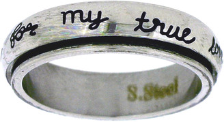 "STAINLESS STEEL ""I will wait for my true love"" CHRISTIAN PURITY SPIN RING STYLE 364"