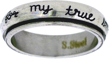 """STAINLESS STEEL """"I will wait for my true love"""" CHRISTIAN PURITY SPIN RING STYLE 364"""