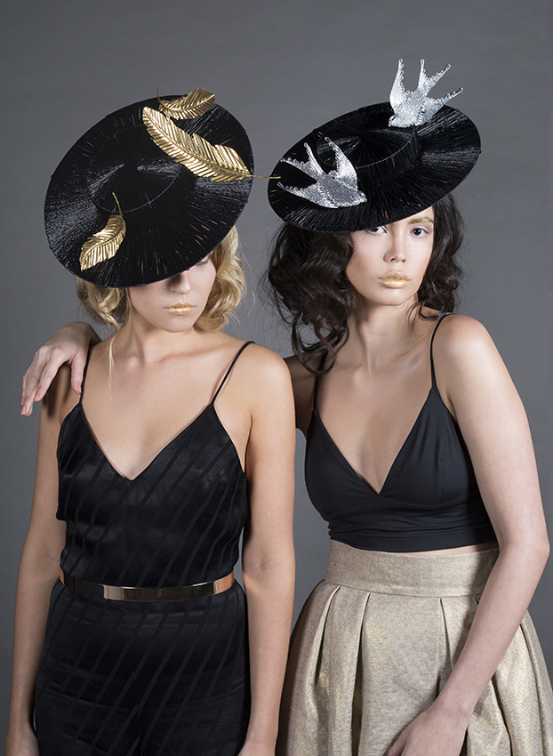 Love Lotus Spring 2015 Collection Black Boater Hat with Metallic Trim Spring Racing