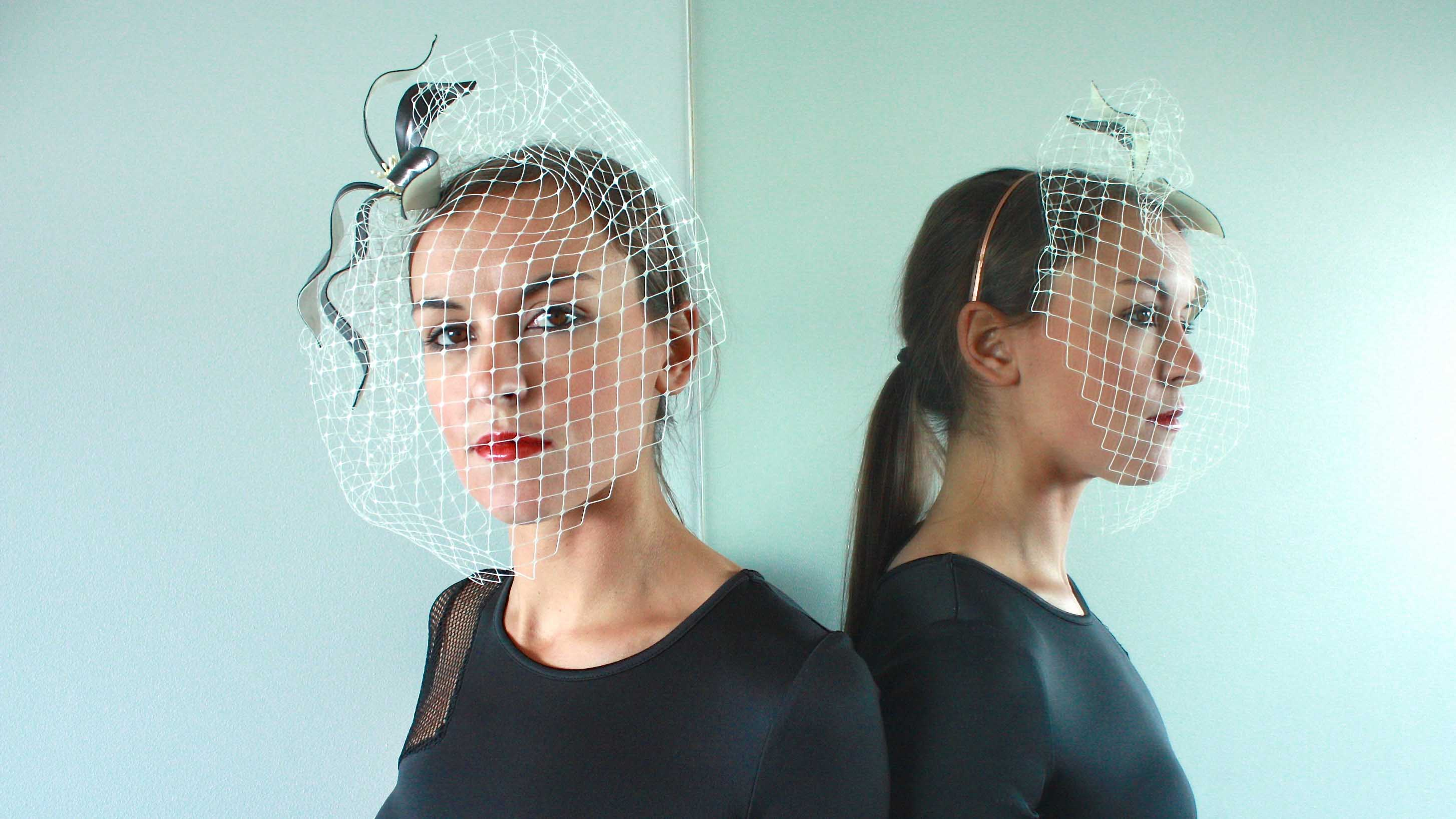 Black Leather Lily Headpiece with White Birdcage Veil