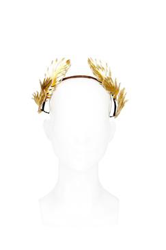 Gold Metallic Leather Laurel Leaf Style Headband by Serena Lindeman Millinery