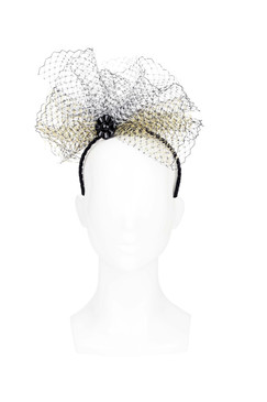 Petal Puff - Black and Gold Netting Burst Headband by The Human Chameleon