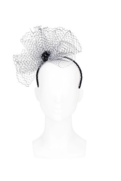 Petal Puff - Black and White Netting Burst Headband by The Human Chameleon