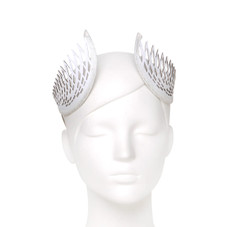White Lasercut Leather Geometric Thea Crown by Studio ANISS
