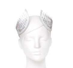 White Lasercut Leather Geometric Thea Crown by Studio ANISS