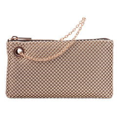 Arielle - Rose Gold Ball Mesh Clutch Handbag by Olga Berg