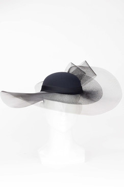 Black Sheer Wide Brim Hat from Fillies Collection