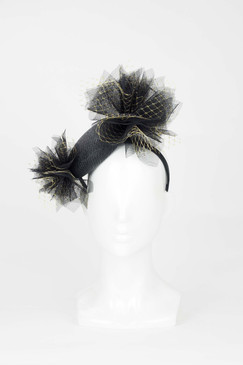 Black and Gold Pillbox Headband with Tulle Bursts by Fillies Collection