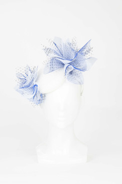 White and Blue Pillbox Headband with Tulle Bursts by Fillies Collection