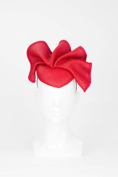 Red Wave Pillbox Fascinator from Fillies Collection