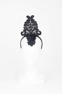 Tall Black Lace Headband from Max Alexander